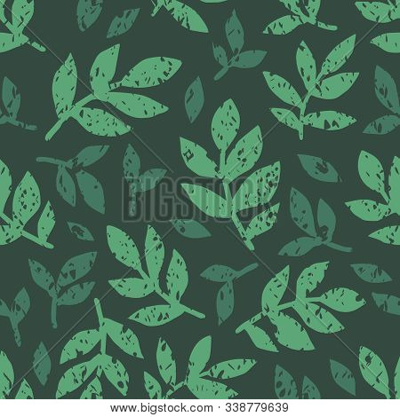 Linocut Vector Green Leaves On Dark Background. Seamless Vector Green Leaves Linocut Grunge Pattern.
