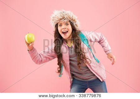 Holiday And Vacation. Kid Pink Backdrop. Teen Daily Life. Education And Happy People Schoolgirl With