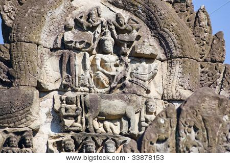 Lord Shiva on Bull, Khmer sculpture
