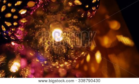 Magic Lanterns Spin And Give Beautiful Glare To The Walls. New Year Glowing Balls With Led Diodes Ar