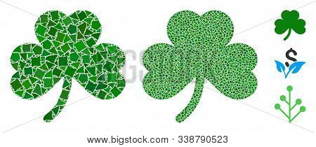Clover Leaf Icon Composition Of Unequal Elements In Different Sizes And Shades, Based On Clover Leaf