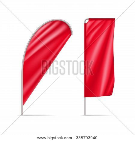 Red Drop And Rectangular Flags Isolated On White Background. Realistic Expo Banners For Outdoor Pres