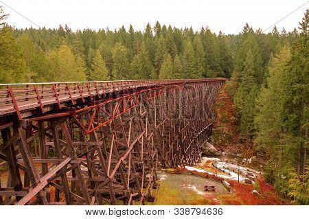 Kinsol Wooden Trestle Bridge Over Deep Ravine