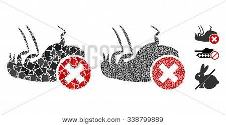 Kill Flea Icon Mosaic Of Unequal Parts In Various Sizes And Color Hues, Based On Kill Flea Icon. Vec