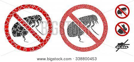 No Flea Icon Composition Of Ragged Items In Different Sizes And Color Tints, Based On No Flea Icon.