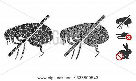 No Fleas Icon Mosaic Of Bumpy Items In Different Sizes And Color Tinges, Based On No Fleas Icon. Vec
