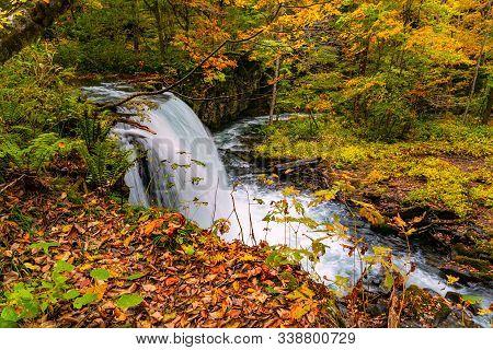 View Of Choshi Otaki Waterfall In Oirase Mountain Stream At Oirase Valley In Autumn Season In Towada