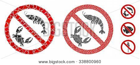 No Seafood Icon Mosaic Of Ragged Pieces In Various Sizes And Color Hues, Based On No Seafood Icon. V