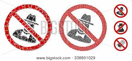 No Spies Icon Mosaic Of Irregular Parts In Variable Sizes And Color Tints, Based On No Spies Icon. V