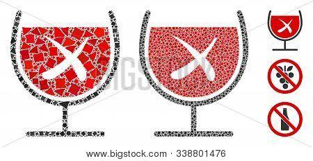 No Wine Drinking Icon Mosaic Of Inequal Pieces In Different Sizes And Color Tints, Based On No Wine