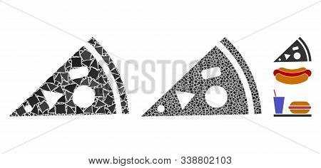 Pizza Piece Icon Mosaic Of Unequal Pieces In Variable Sizes And Color Tones, Based On Pizza Piece Ic