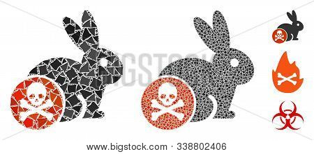 Rabbit Toxin Icon Mosaic Of Uneven Pieces In Various Sizes And Color Hues, Based On Rabbit Toxin Ico