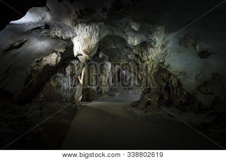 Limestone Formations In Karst Cave At Cat Ba Island, Vietnam, Stalactites And Stalagmites Inside The