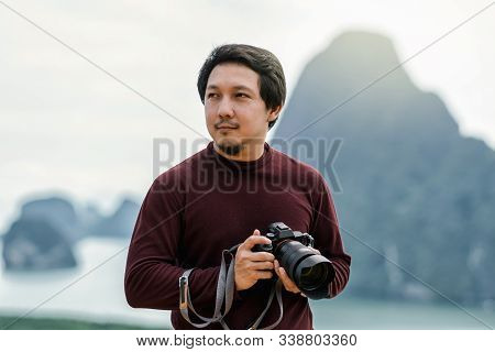 Portrait Of Photographer Or The Tourist Over The Fantastic Landscape Of Samed Nang Chee View Point A