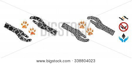 Tiger Care Hands Icon Composition Of Unequal Parts In Variable Sizes And Color Tinges, Based On Tige