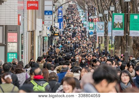 Tokyo, Japan - Feb 2019 : Crowd Of Undefined People Prevent Freedom Of Movement Walking On The Stree