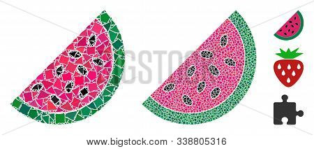 Watermelon Piece Icon Mosaic Of Bumpy Pieces In Variable Sizes And Color Tints, Based On Watermelon