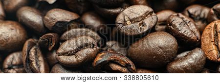 The Macro Of Roasted Coffee Beans Background, The Texture Pattern