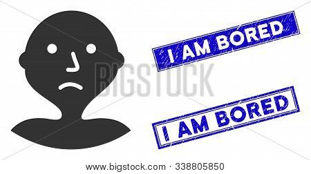 Flat Vector I Am Bored Icon And Rectangular I Am Bored Stamps. A Simple Illustration Iconic Design O