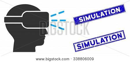 Flat Vector Virtual Reality Icon And Rectangle Simulation Stamps. A Simple Illustration Iconic Desig