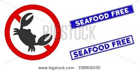 Flat Vector Seafood Free Pictogram And Rectangle Seafood Free Seal Stamps. A Simple Illustration Ico