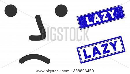 Flat Vector Bored Icon And Rectangle Lazy Seal Stamps. A Simple Illustration Iconic Design Of Bored