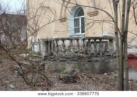 Ruined Old Decorative Balustrade On The Balcony Columns Postmodernism In The Architecture Of A Histo