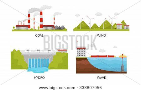 Modern Power Plants Collection, Coal, Wind, Hydro, Wave Industrial Factory Buildings Vector Illustra