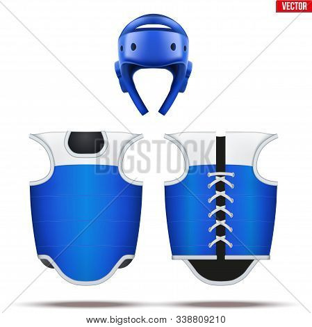 Taekwondo Equipment Set. Helmet With Bodyguard. Front And Back View. Blue Color. Fighting Sport Equi