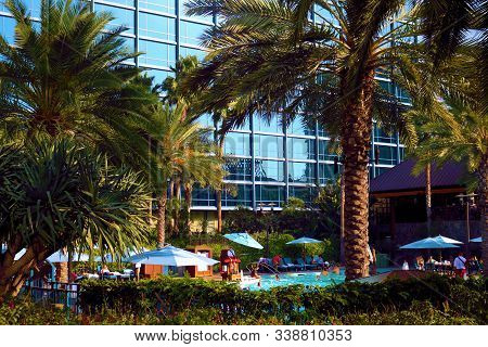 November 29, 2019 In Anaheim, Ca:  People Swimming And Laying Out Poolside Surrounded By Lush Garden