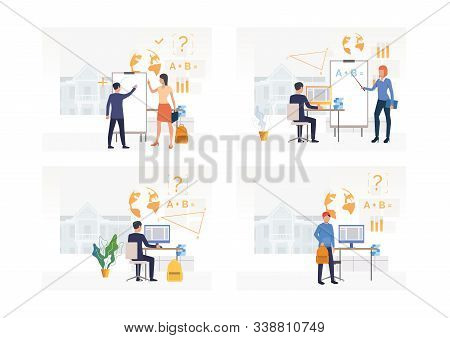 Set Of Students Drawing Circle On Flipchart, Using Computer. Flat Vector Illustrations Of Learning,