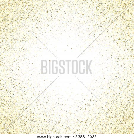 Gold Sparkles Glitter Dust Metallic Confetti Vector Background. Glowing Golden Sparkling Background.