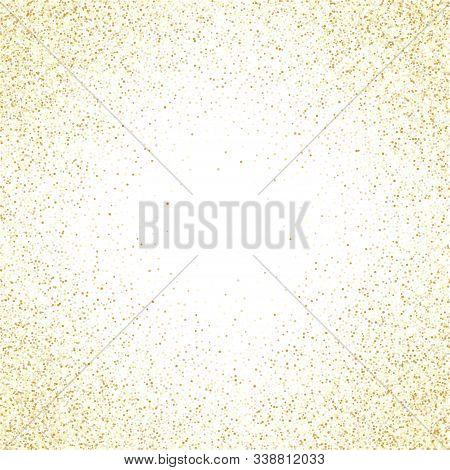 Gold Sparkles Glitter Dust Metallic Confetti Vector Background. Glowing Golden Sparkling Background.