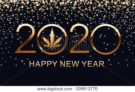 Gold Marijuana Leaf And 2020 Year On Blue Background. Vector Illustration Christmas And Happy New Ye