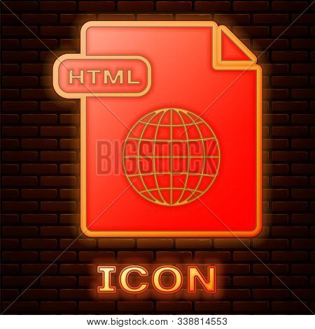 Glowing Neon Html File Document. Download Html Button Icon Isolated On Brick Wall Background. Html F