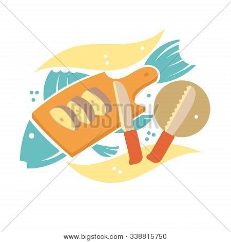 Cutting Board, Which Are Pieces Of Fish. Knives For Cutting Fish