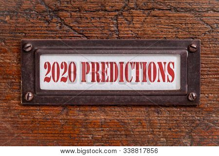 2020 predictions - a label on grunge wooden file cabinet. Expectation and speculation for the incoming year.