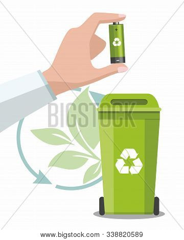 Battery And Waste Recycling Concept. Man Is Holding A Recyclable Battery. Vector