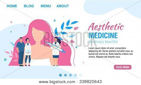 Landing Page Flat Design Layout Offering Aesthetic Medicine Service. Facial Injection. Cartoon Woman
