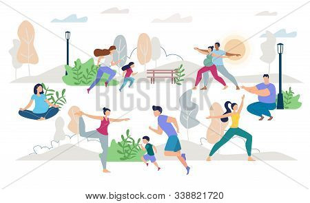 Healthy Lifestyle People Characters Vector Scene Flat Set. Man Woman, Children, Young Family, Pregna