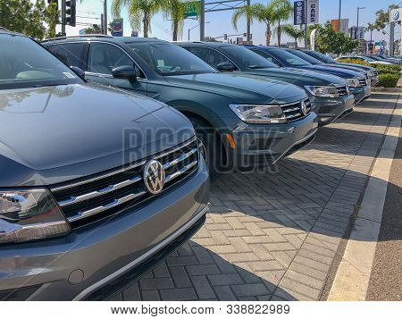 Row Of New Volkswagen Car At Dealer And Service Showroom In San Diego, California, Usa. Volkswagen,