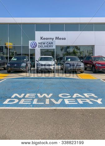 New Car Delivery Space At Volkswagen Group Dealership And Service In San Diego, California, Usa. Vol