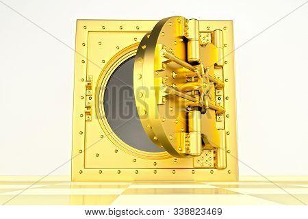 Front View Of Light Gold Bank Vault Door, Open. The Door To The Bank Vault With A Lot Of Secret Mech
