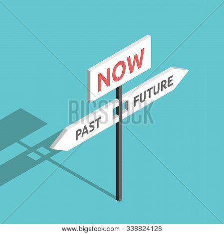 Isometric Past, Future And Now Directions Sign On Turquoise Blue. Present Moment, Destiny, Life, Psy