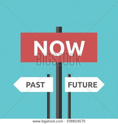 Past, Future And Now Directions With Traffic Signs On Turquoise Blue. Present Moment, Destiny, Life,