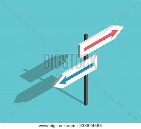 Isometric Two Directions Sign With Arrows On Turquoise Blue Background. Choice, Uncertainty, Guidanc