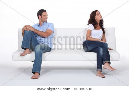 Woman giving her husband the cold shoulder
