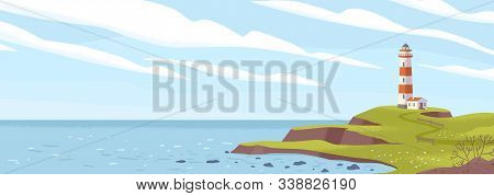 Lighthouse On Seashore Flat Vector Illustration. Island Pharos, Light House, Seascape, Signal Buildi