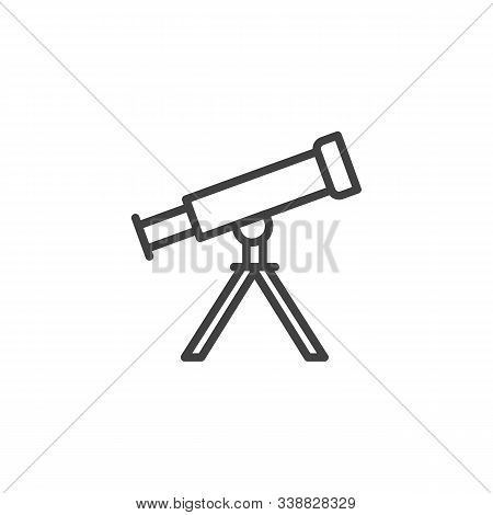 Telescope On Tripod Line Icon. Linear Style Sign For Mobile Concept And Web Design. Astro Telescope