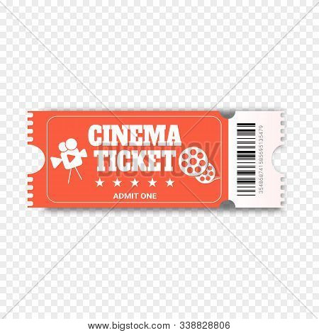 Cinema Ticket Isolated On Transparent Background. Realistic Cinema Or Movie Ticket Template. Skip To